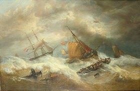 François Etienne Musin: Segelschiffe in schwerem Seegang