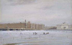 Nikolai Konstantinov Bool: Ansicht des Winterpalastes über die vereiste Newa hinweg. (St.Petersburg)