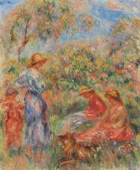 Auguste Renoir: Deux femmes assises et une debout, un entfant (Paysage avec trois femmes et un enfant)
