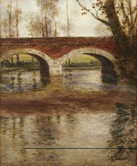 Frits Thaulow: Flußlandschaft mit Brücke