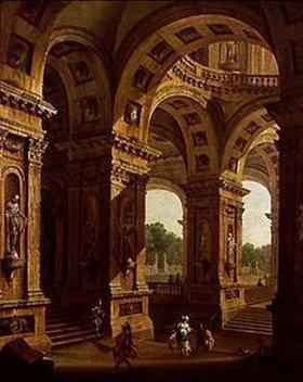 Antonio Joli: Römische Palastarchitektur mit römischen Soldaten