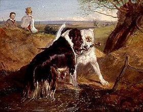 Sir Edwin Henry Landseer: Zwei Hunde im Kampf um ein Stöckchen