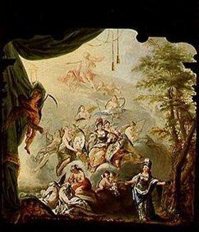 Franz Anton von Leydensdorff: Entwurf eines Theatervorhangs für das kurfürstliche Opernhaus Mannheim: Verherrlichung Karl Theodors von der Pfalz