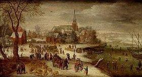 Jan Brueghel d.Ä.: Blick auf das winterliche Schelle bei Antwerpen