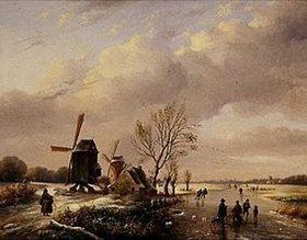 Louis (Verboeckhoven) Verwee: Winterl.Flußlandschaft mit Eisläufern und Windmühlen