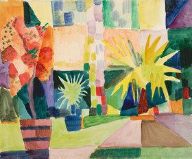 August Macke: Garten am Thunersee (Granatbaum und Palme im Garten)