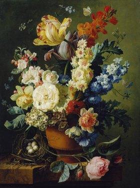 Paul Theodor van Brüssel: Blumenstillleben mit Vogelnest