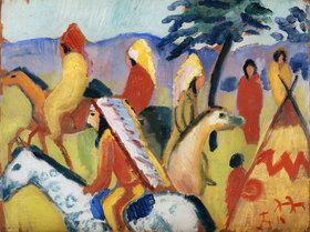 August Macke: Reitende Indianer beim Zelt