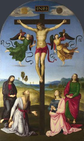 Raffael (Raffaello Sanzio): Die Kreuzigung Christi mit Madonna, Heiligen und Engeln