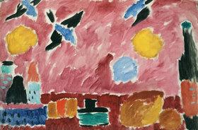 Alexej von Jawlensky: Stillleben mit Flasche, Brot und roter Schwalbentapete