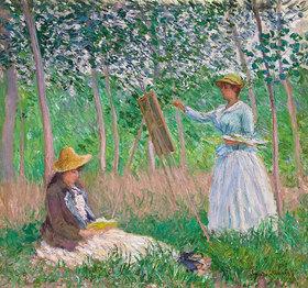 Claude Monet: Blanche Hoschedé an der Staffelei und Suzanne Hoschedé beim Lesen