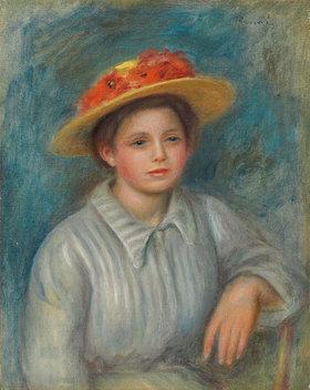 Auguste Renoir: Portrait einer Frau mit Blumenhut