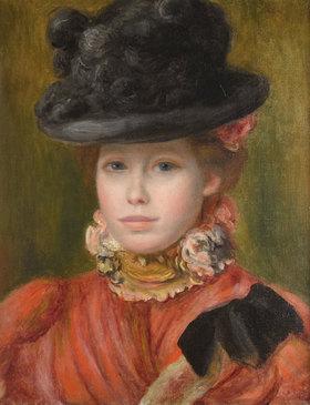Auguste Renoir: Mädchen im schwarzen Hut mit roten Blumen