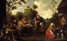 Joost Cornelisz Droochsloot: Kartenspielende Bauern und raufende Kinder vor einem Bauernhaus