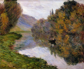 Claude Monet: Boot auf der Seine bei Jeufosse (Barque sur la Seine à Jeufosse)