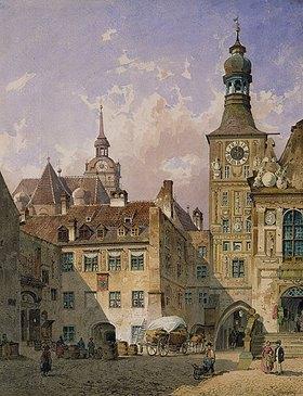 Friedrich Eibner: München, Blick aus dem Tal auf das Alte Rathaus