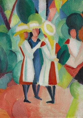 August Macke: Drei Mädchen mit gelben Strohhüten (I)