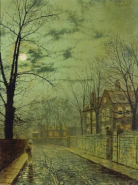 John Atkinson Grimshaw: Vorstadtstraße bei Mondschein