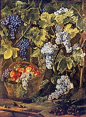 Michelangelo Cerquozzi: Stillleben mit Obstkorb, Kastanien und Trauben