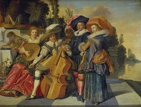 Dirck Hals: Elegante musikalische Gesellschaft auf einer Terrasse