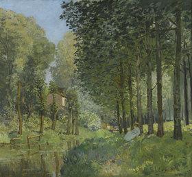 Alfred Sisley: Rast am Flussufer. Am Waldrand (Le repos au bord du ruisseau. Lisière de bois)