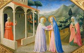 Fra Angelico: Die Begegnung von Maria und Anna. Predella des Altars Verkündigung