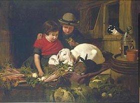 John Frederick Herring d.Ä.: Kinder mit Kaninchen
