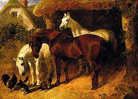John Frederick Herring d.Ä.: Pferde und Hühner auf einem Bauernhof