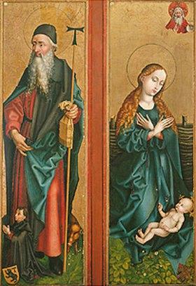 Martin Schongauer: Zwei Flügel vom Orliac-Altar: Der hl. Antonius und Maria, das Kind anbetend