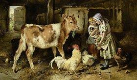 Walter Hunt: Kinder füttern ein Kalb und Hühner