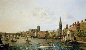 William James: London, Themse mit York-Steps und Westminster-Abbey