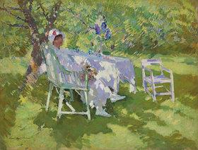 Alexejew. Konstantin Korovin: Eine Dame in weiß, in ihrem Garten sitzend