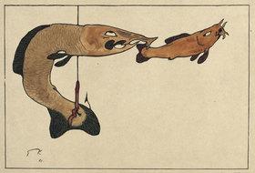 Paul Klee: Ohne Titel (Zwei Fische, einer am Haken)