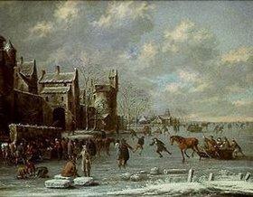 Thomas Heeremans: Eisläufer auf einem Kanal vor einer Stadtmauer