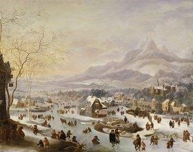 Robert Griffier: Große winterliche Flußlandschaft an einer Stadt vor dem Gebirge