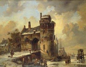 Jan Michael Ruyten: Winterliche Flußlandschaft an einem alten Stadttor