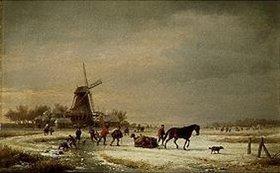 Eugene Joseph Verboeckhoven: Winterlandschaft an einer Windmühle