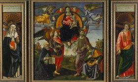 Domenico(T.Bigordi) Ghirlandaio: Teile des Hochaltars von S. Maria Novella Florenz: Katharina v. Siena, Maria mit Kind