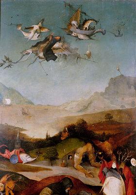 Hieronymus Bosch: Die Versuchung des heiligen Antonius (Triptycon, Detail der linken Flügel)