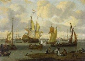 Abraham J. und Schüler Storck: Spaziergänger am Ufer des Flusses Ij mit Schiffen