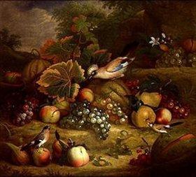 Tobias Stranover: Obststilleben mit Eichelhäher und Finken in einer Landschaft