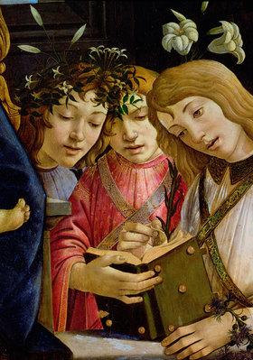 Sandro Botticelli: Maria mit dem Kind, Johannes dem Täufer und Engeln. Detail. <