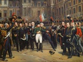 Emile Jean Horace Vernet: Abschied Napoleons aus Fontainebleau am 20.April 1814. Entstanden