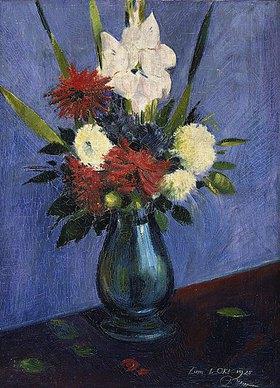Oskar Schlemmer: Blumenvase mit Gladiolen und Dahlien