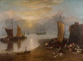 Joseph Mallord William Turner: Sonnenaufgang im Dunst. Fischer beim Ausnehmen und Verkaufen von Fischen. Vor
