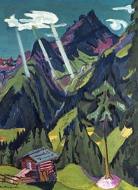 Ernst Ludwig Kirchner: Bündner Landschaft mit Sonnenstrahlen