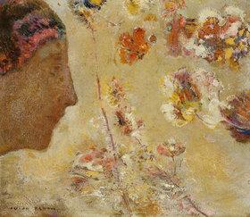 Odilon Redon: Femme de Profil avec Papillon et Fleurs