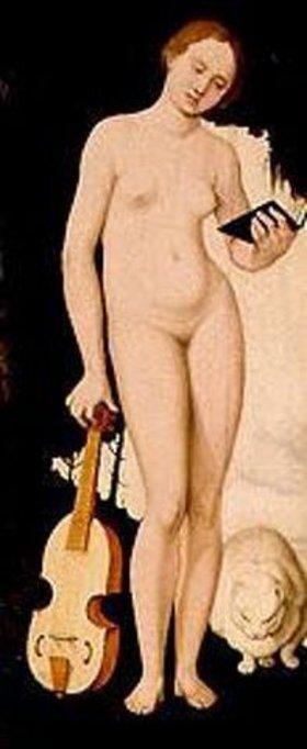 Hans Baldung (Grien): Frau mit Notenbuch, Gambe und Katze