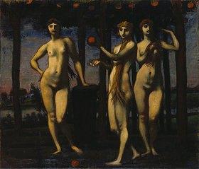 Hans von Marées: Triptychon Die Hesperiden 1884/1885. Mitteltafel: Die drei Frauen