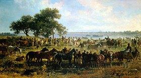 Franz Adam: Schiffsfähre am Ufer der Theiss